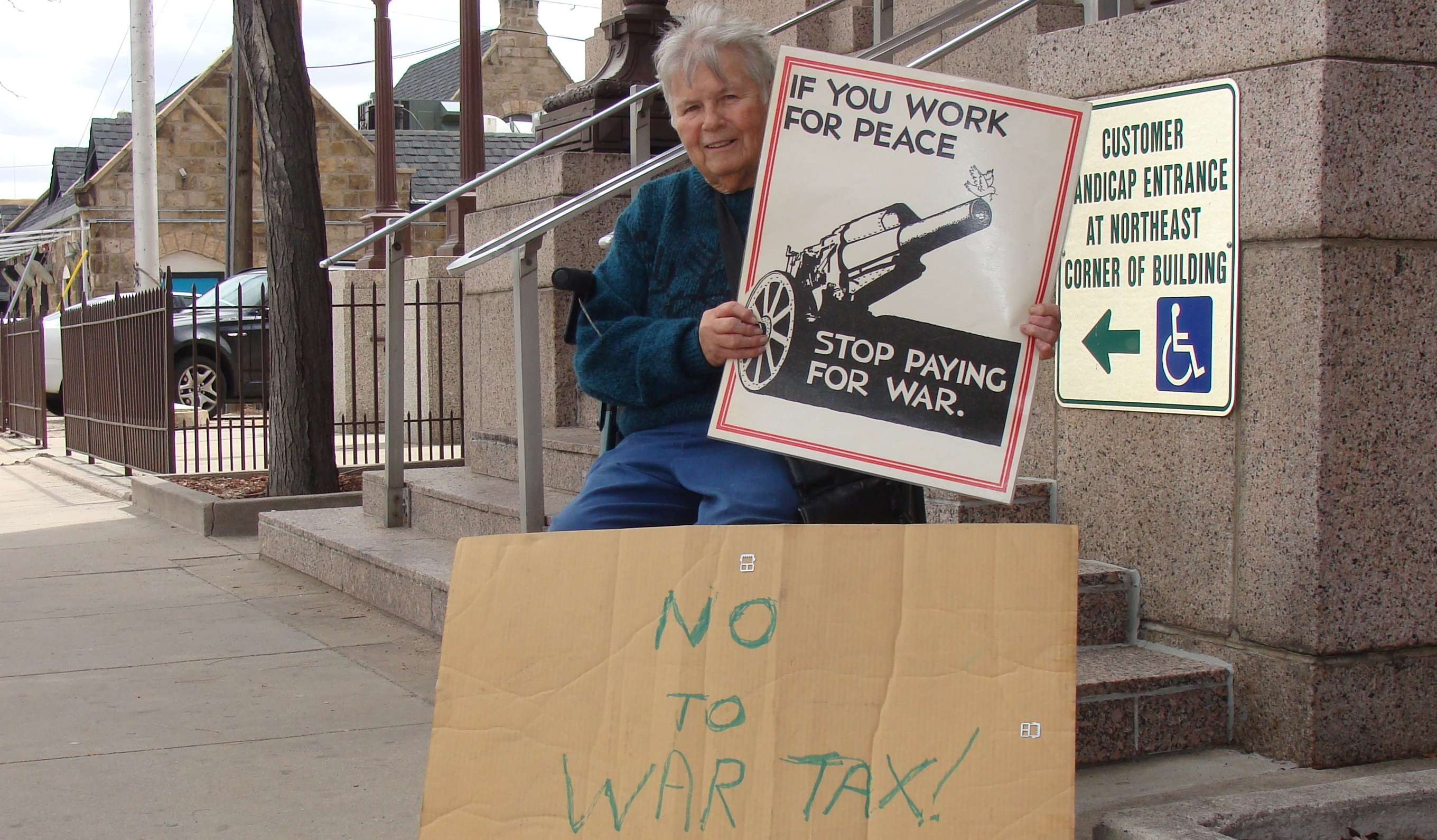 Photo by Donna JohnsonPat Huhn was a regular at annual Tax Day protests outside the downtown Colorado Springs Post Office.