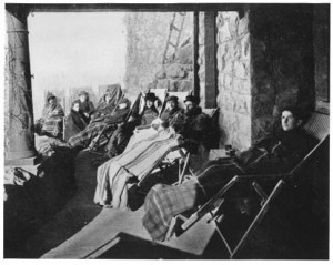 Colorado Springs was originally founded, in part, as a healthy place with a healing climate. Patients suffering tuberculosis and consumption would wrap in blankets while reclining on the stone veranda of Cragmor Sanatorium (now the site of UCCS). Unfortunately, such treatment was usually limited to the upper class. Photo courtesy Pikes Peak Library Digital Collections