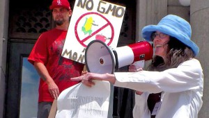 Julie Ott delivers the word on GMOs at the March Against Monsanto.
